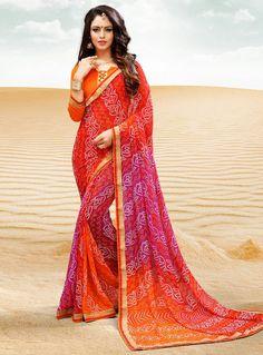 Orange Georgette Bandhej Saree With Blouse 104070