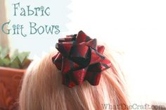 Fabric Gift Bow Tutorial from Whatthecraft.com #fabulouslyfestive