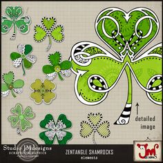 Zentangle Shamrocks by Julia Makotinsky