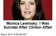 Latest News:  Monica Lewinsky:  I was Suicidal After Clinton Affair.  Monica Lewinsky has been basically unheard from in a decade—but the 40-year-old is now writing about her 1990s affair with Bill Clinton.  Get all the latest news on your favorite celebs at www.CelebrityDazzle.com!