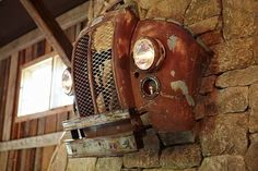 What a great decor idea to keep the junk yard clear and add a cool vintage look to your home.  Great for a Man Cave too!