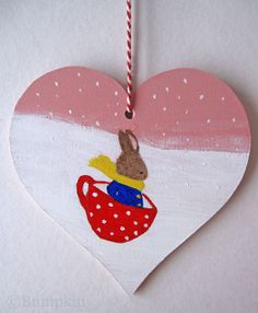 Happiness is a Cup of Tea in the Snow  hand painted heart decoration by Bumpkin. #christmas