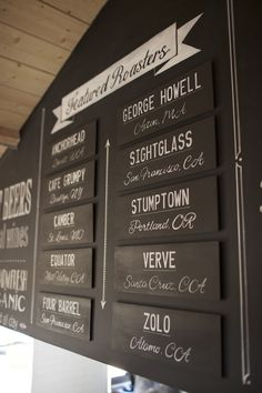 Custom chalkboard sign painting for an on-site for a local coffee shop. Small boards are great for seasonal, featured, or rotating menu items. Hand painted small business signage. design your own chalkboard. Coffee Shop, Lafayette, CA