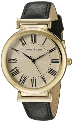 Anne Klein Women's AK/2136CRBK Gold-Tone and Black Leather Strap Watch ** Read more at the image link.