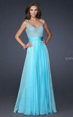 Long Cheap Aqua Spaghetti Straps Embellished Bodice Prom Dresses @ queendressessale.com