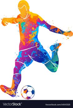 Ball soccer player vector image on VectorStock Nike Football Kits, Football Squads, Football Art, Lionel Messi Wallpapers, Watercolor Art Lessons, Foto Transfer, Paint Splash, Sports Art, Paw Patrol