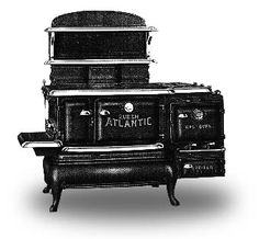 I ❤ antique stoves . QUEEN ATLANTIC- Combination for Coal, Wood and Gas. Queen Atlantic with box high shelf and end gas attachment. Antique Kitchen Stoves, Antique Wood Stove, How To Antique Wood, Wood Burning Cook Stove, Wood Stove Cooking, Coal Stove, New Stove, Steampunk Kitchen, Stove Parts