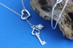 Skeleton key Necklace  Heart Key Necklace on Sterling by MonyArt, $26.80