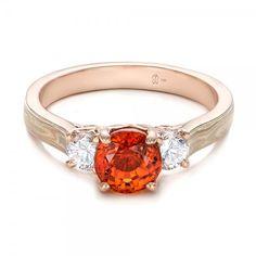 Custom Orange Sapphire and Diamond Mokume Engagement Ring