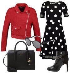 Grazioso abito in jersey a pois su fondo nero. Giacca in similpelle rossa con cerniera laterale. Stivaletto con tacco a spillo e borsa a mano entrambi neri. E per finire occhiale da sole con lente ovale, nero.