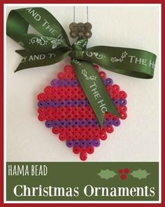 Hama bead and ribbon Christmas ornaments
