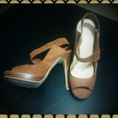 HostPick! Levity suede platform sandals Work Week Chic Party 11/17 Host Pick!!  In amazing condition...worn once. These are just too high for me!! 5 inch heel. Real suede. Cognac, deep chestnut brown color. #levity #levitysandals #brownsandals #brownheels #suedesandals Levity  Shoes Heels