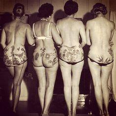 """Vintage"" tattooed bums! Vraies fesses, vraies dos, vraies jambes.... ça fait du…"