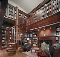 Home Library  With Elegant Brown Wooden Bookshelf And Cabinetry And Black Leather Sofa