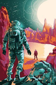 """I, Robot"", by Isaac Asimov. Illustration by Alexander Wells. Illustration Agency, Astronaut Illustration, Space Artwork, Art Watercolor, Isaac Asimov, Science Fiction Art, Retro Wallpaper, Sci Fi Art, Cyberpunk"