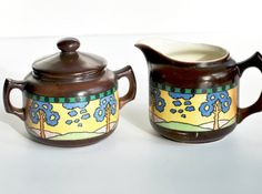 cream and sugar set czech pottery vintage by daisychainvintage