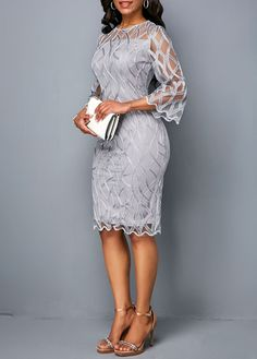 Gray Mother Of The Bride Dresses sleeves Sheath Knee Length Gown Size plus African Fashion Dresses, African Dress, Fashion Outfits, Dresses For Sale, Dresses Online, Lace Dress Styles, Mother Of Groom Dresses, Bride Dresses, Short Mini Dress