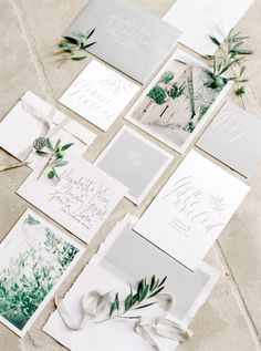 Fine Art wedding stationery, styled with olive tree sprigs and silk ribbon