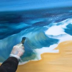 First stage of my new wave painting. Watercolor Wave, Acrylic Wave Painting, Surfing Painting, Abstract Ocean Painting, Painting Techniques, Canvas Painting Tutorials, Painting Videos, Painting Tips, Painting Art
