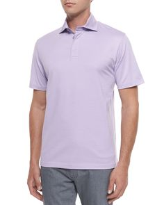 Short-Sleeve Polo Shirt, Purple, Size: XXX-LARGE - Ermenegildo Zegna