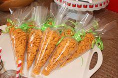 Goldfish in piping bags, to look like carrotts!  Farm / Barnyard Party-- Poppy Event Design.