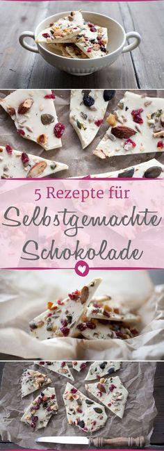 Die fünf besten Rezepte, um #Schokolade selber zu machen. #DIY #Schokoladenrezept #Selbermachen #Rezept