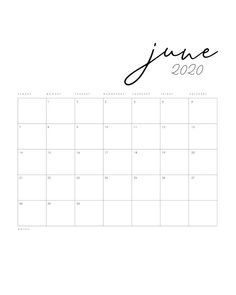 Free Printable 2020 Minimal Calendar - The Cottage Market Free Calendar, Weekly Calendar, Kids Calendar, Calendar Design Template, Printable Calendar Template, Free Printables, Minimal Calendar, Greeting Card Shops, Monthly Planner Printable