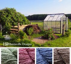 'Garden Prep' color palette featuring Silk & Wool yarn: Fern, Dusty Pink, Bluebell, and Cappuccino.
