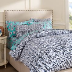 ORGANIC Navy Chevron Ruched Duvet, Yes Please!  My bedroom needs this!