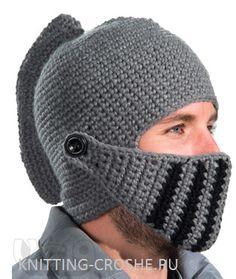 Crochet Knight's Helmet by DebraDoodles on Etsy Crochet Quilt, Crochet Yarn, Free Crochet, Crochet Beanie, Knitted Hats, Beard Hat, Knitting Patterns, Crochet Patterns, Crochet Costumes