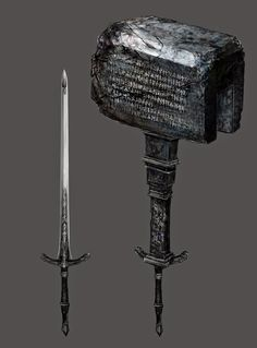 View an image titled 'Kirkhammer Art' in our Bloodborne art gallery featuring official character designs, concept art, and promo pictures. Fantasy Sword, Fantasy Weapons, Dark Fantasy, Bloodborne Concept Art, Bloodborne Art, Bloodborne Cosplay, Armas Ninja, Sword Design, Anime Weapons