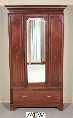 wardrobe armoire closet antique english inlaid mahogany armoire wardrobe closet w mirror antique mahogany armoire