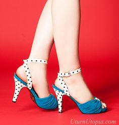 Turquoise & Polka Dot Peep Toe Cross Back Strap Sandals [BP412-ELEANOR-TUR] - $59.99 : Uturn Utopia, Retro footwear, Rockabilly Shoes, Vintage Inspired Clothing, jewelry, Steampunk
