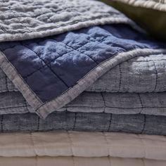 Blue Pillows, Linen Pillows, Linen Bedding, Grey Quilt, Blue Quilts, King Size Quilt, Quilt Bedding, Custom Furniture, Crate And Barrel