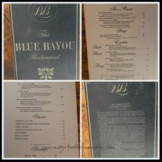 Vintage 1960's Disneyland Blue Bayou Menu. To see full pages and article visit: http://magicfeathermemories.blogspot.com/2014/03/vintage-disneyland-blue-bayou.html