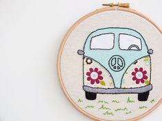 Embroidery hoop art Retro flowers Volkswagen VW camper by buligaia