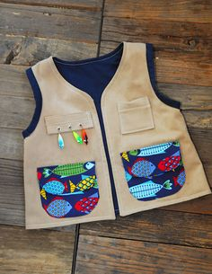 Fishing vest for my nephew!  Made by Karina at The Naked Spool.