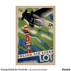 Shop Vintage Polish Air Travel Ad Poster created by awesomevintage. Travel Ads, Air Travel, Travel Posters, Vintage Paper, Vintage Looks, Upholstery, Polish, Fabric, Tejido