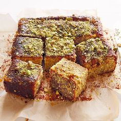 Your weekly is here: sticky pistachio cake with seville orange syrup. Total Time: 1 Hour 15 Minutes Plus c. Baking Recipes, Cake Recipes, Dessert Recipes, Baking Ideas, Small Food Processor, Food Processor Recipes, Pistachio Cake, Pistachio Recipes, Square Cakes