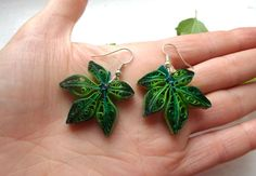 Long Green leaves nature earrings Spring jewerly by PaperDreamland