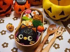 ハロウィン★黒ネコちゃんおにぎりの弁当|レシピブログ