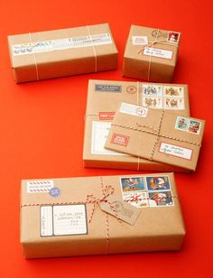 Christmas wrapping idea: use brown paper, old used or fake stamps, old style postage stickers, twine, etc. to decorate. CANNOT BE MAILED. (just pinned idea - link isn't useful)