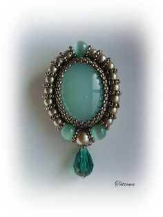 Brooch with amazonite and Swarovski | biser.info - all about the beads and beaded works