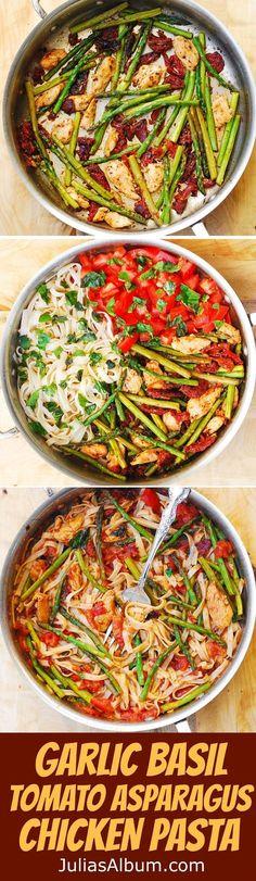 Tomato Asparagus Chicken Fettuccine Pasta - easy dinner recipe.