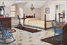 1926 Yellow Attic Bedroom: Most attics in the 20's were unfinished, but folks renovated them when their families grew.