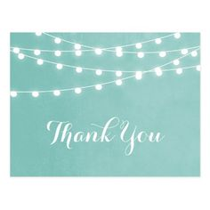 Summer String Lights Wedding Thank You Postcard