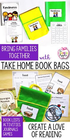 Get students reading at home and engage families in the process with Take Home Book Bags! Each bag contains a list of book suggestions, discussion questions, a writing journal, game or craft, family activities and a strategy sheet. An awesome way to switch up reading homework!