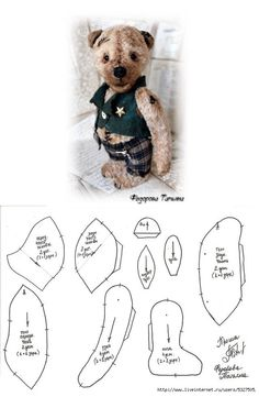 Proshenki Teddy Bear Clothes, Teddy Bear Toys, Stuffed Animal Patterns, Diy Stuffed Animals, Teddy Beer, Freehand Machine Embroidery, Bunny And Bear, Doll Patterns, Bear Patterns