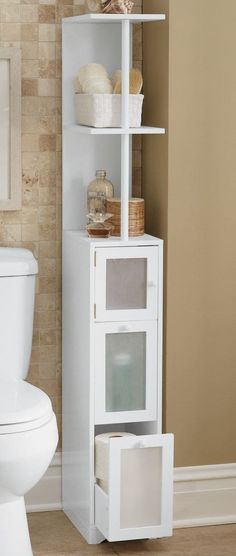 Bathroom Furniture - Need more storage? If you have even a narrow bathroom space, you have room for our efficient Bathroom Tower! Bathroom Tower, Bathroom Corner Shelf, Bathroom Wall Decor, Bathroom Flooring, Small Bathroom, Relaxing Bathroom, Bathroom Cabinets, Bathroom Ideas, Window In Shower