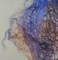 Felted Wool Scarf, Cobweb Felt Scarf, Handmade Felt Scarf, Hand Dyed Scarf, Blue and Red Scarf, Women's Scarf, Wool Wrap, Winter Scarf